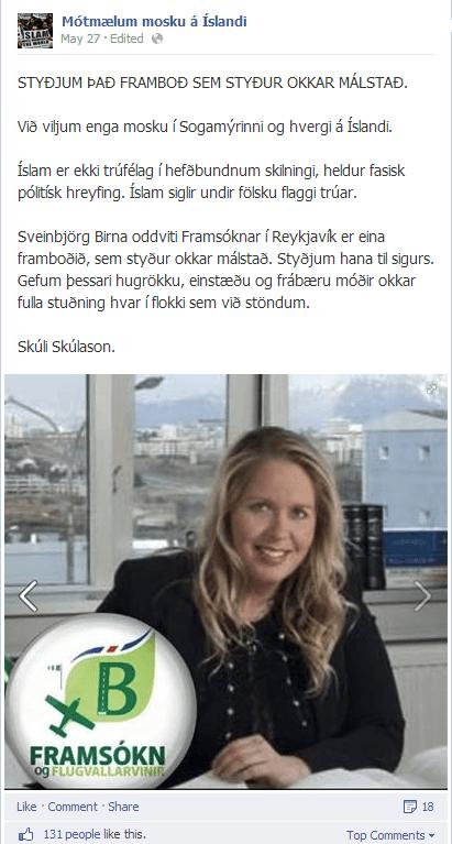 Mótmælum mosku á Íslandi styður B